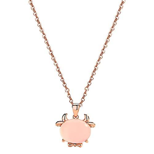 Cadena de cuello para mujer, colgante de vaca de cristal rosa, regalo de Navidad, cumpleaños, San Valentín, para niñas y madres