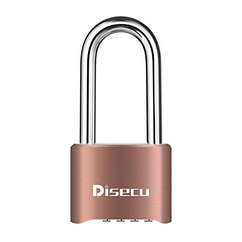 Disecu Heavy Duty 4 Digit Combination Lock Outdoor Waterproof Long Shackle Padlock for Gate, Fence, Gym Locker,Toolbox (Brass)