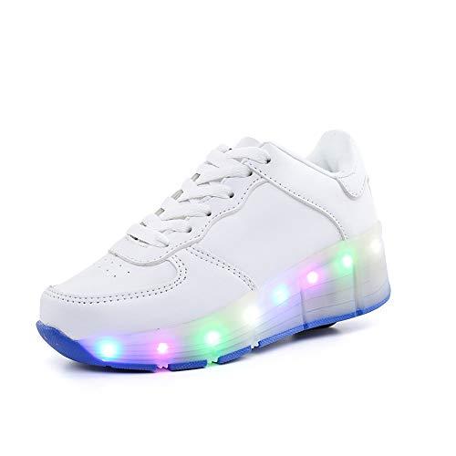 Kinder Roller LED Schuhe, Sneakers Mit Rollen, Leuchtend Sportschuhe Geburtstagsge, Blinken Turnschuhe, Mädchen Junge Einzelrad Rollschuhlaufen Skates,Weiß,40