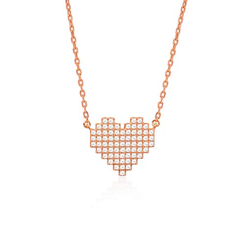 COOLYOUTH Jagucho Forever Love Heart Pendant Necklace Sterling Sliver Rose Gold Plated Heart Lock Key/Love Heart Cubic Zirconia Pendant Jewelry Necklaces Gift for Women Girls Heart Shape-Rose gold