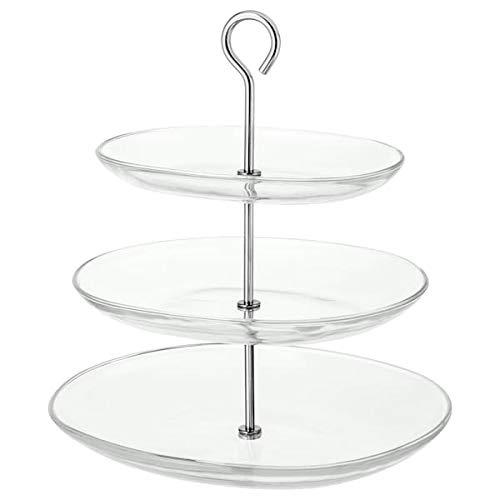 Ikea Glas-Etagere KVITTERA 3-Fach Etagére mit kombinierbaren, abnehmbaren Tellern aus Glas mit hohen Kanten - 27x31x34cm (BxTxH) - spülmaschinenfest