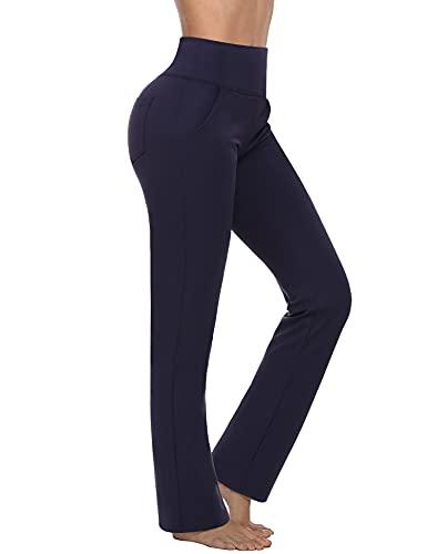 Sykooria Pantalones de Yoga Bootcut para Mujer con 4 Bolsillos Pantalón de Trabajo de Cintura Alta Otoño Invierno Pilates Gimnasio Running