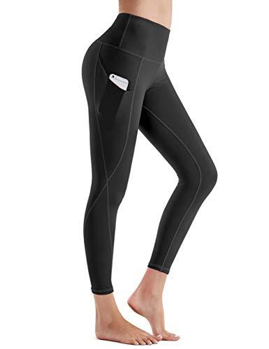 Rocorose Women's Yoga Pants High Waist Tummy Control Sides Pockets Workout Running Leggings Black XS