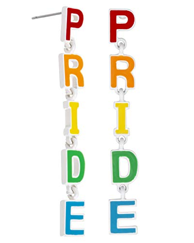 Madison Tyler Pride Collection, PRIDE Rainbow Dangle Post Earrings for Women Gay Lesbian LGBT Jewelry (Rainbow and White)