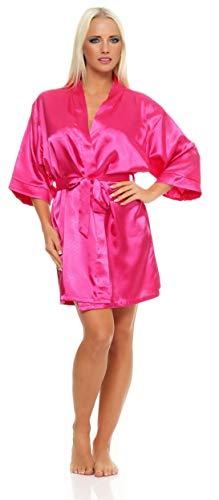 AE Damen Morgenmantel kurzer Kimono aus Satin-Optik in 23 Farben Bademantel Nachtwäsche Nachtmantel Seidenrobe Gr. S-2XL Pink L