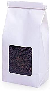 Tin Tie Coffee Bag with Window 500 Count - 1/2 LB - White