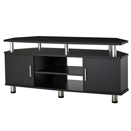 HOMCOM Meuble Banc TV Design Contemporain Multi-rangements : 2 Portes Niche Centrale étagère Grand Plateau 120L x 40l x 52H cm Noir chromé