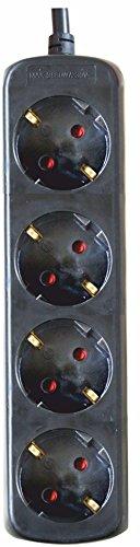 Silver Electronics 9674 Base eléctrica 4 salidas sin interruptor, Negro