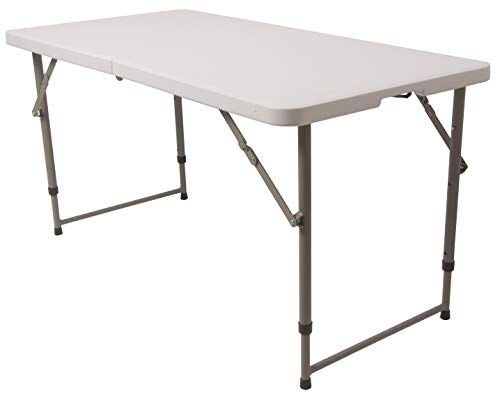 BalanceFrom Adjustable Height Utility Camping Folding Table, 4 Feet