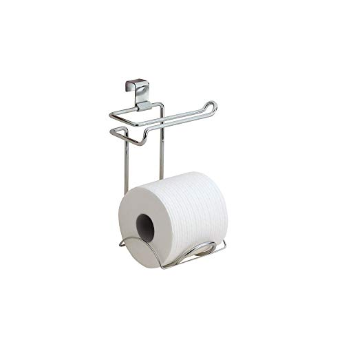 iDesign Classico Steel Toilet Paper Holder for Bathroom Storage, Over the Tank Toilet Tissue Organizer, Chrome