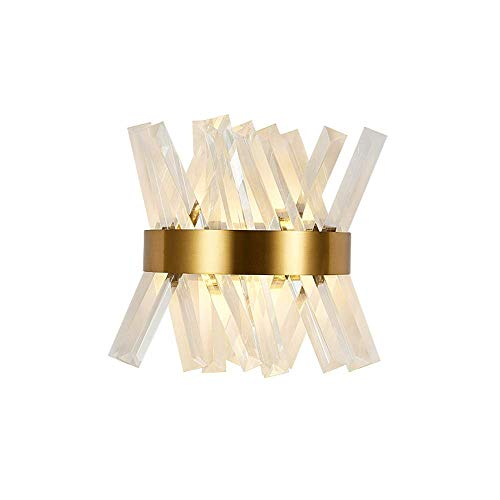 JJRPPFF Lámpara de Pared LED de Cristal, Aplique de Estilo de Lujo con luz nórdica posmoderna, Luces de Noche para Dormitorio, iluminación de Pared de Fondo para Sala de Estar, Modelo de Hotel
