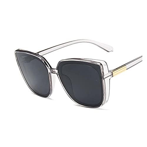 ZHHOOHAG Gafas De Sol Moda Gato Ojo Gafas de Sol Mujeres Retro diseñador de Marca Sol Gafas Hembra Vintage Negro Espejo Gafas De Sol Polarizadas (Lenses Color : Trans Gray)