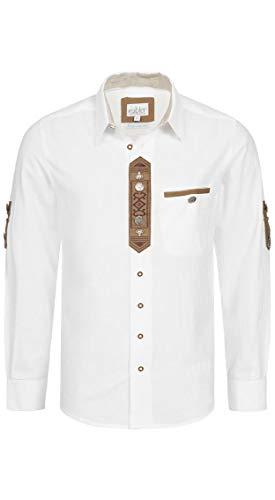 Nübler Trachtenhemd Romus Langarm Weiß Landhaus-Stil, Kurzarm, Langarm, Regular-Fit, 100% Baumwolle Weiß Gr. L
