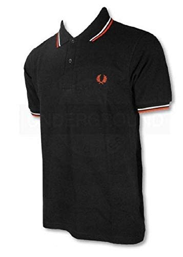 Fred Perry Poloshirt für Herren, leicht und dehnbar, Größe S, Schwarz / Rot