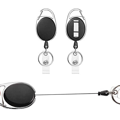 Porte Badge Enrouleur, 2 pièces Porte-clés Retractable,Avec Ressort Renforcé, Avec Enrouleur de Ceinture Pour Porte CléS Porte Badge de Carte D'Identité (Noir - 2 pièces)