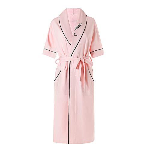 DUJUN Langarm Kimono Pyjama Bademantel Sexy Saunamantel Sommer,Morgenmantel Dünn aus Baumwolle Bademantel Nachtwäsche,Dünn geschnittene Morgenmäntel aus Baumwolle, pink XL