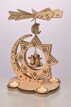 HI Weihnachtspyramide aus Holz für 4 Teelichter, Feine Verzierungen + drehbare Ebene mit Engelsorchester
