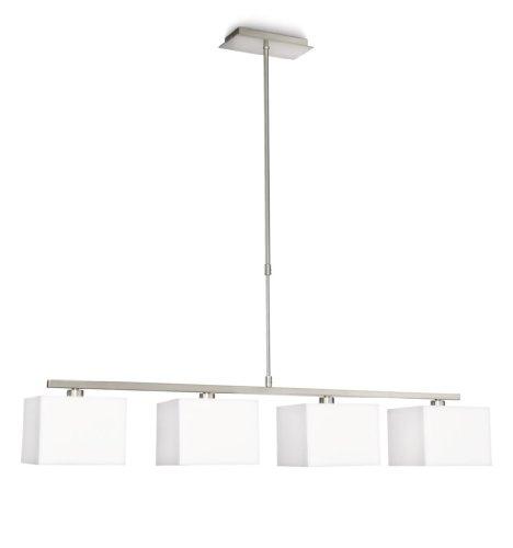Philips 366763116 Ely Suspension Lampe de Salon Métal Blanc 4 x 42 W