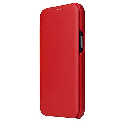 LTLGHY Funda para iPhone 12 Pro MAX 6.7', Funda De Cuero Genuino con Cierre Magnético, Antigolpes Cuerpo Completo Protectora Carcasa,Rojo