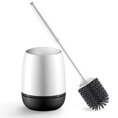 nacena Toilet Bowl Brush and Holder,Toilet Brush and Holder Durable TPR Bristles Compact WC Cleaning and Bathroom Brush Wall-Mounted Anti-drip Save Space