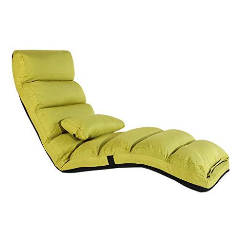 LRSFM Faule Couch-Stuhl-einzelnes taktable Schlafsofa Tatami modernes minimalistisches Schlafzimmer-Balkon-Erker-Fenster-kleines Recliner (Farbe : Grün)