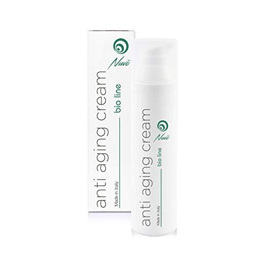 Nuvo' Gesichtscreme mit 72% Schneckenschleim, Hyaluronsäure, Traubenkernöl, Aloe vera Maxi Flakon 75 ml -BIO-ZERTIFIZIERT- Anti Aging & Anti-Falten-Feuchtigkeitscreme 100% Made in Italy
