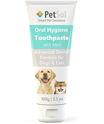 PetSol Dentifrice pour Chiens et Chats Améliore la santé des gencives et des Dents (Menthe) élimine et réduit la Plaque Dentaire et Le Tartre Rafraîchit l'haleine pour Dents et gencives saines (100g)