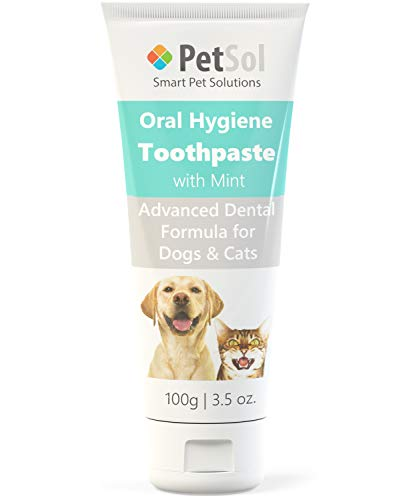 PetSol Toothpaste For Dogs & Cats (100g) Improve Gum, Tooth Health & Oral Hygiene. Freshen Dog Breath Remove & Reduce Plaque. Fresh Breath Dental Care Teeth Cleaning Tartar & Plaque Remover (Mint)