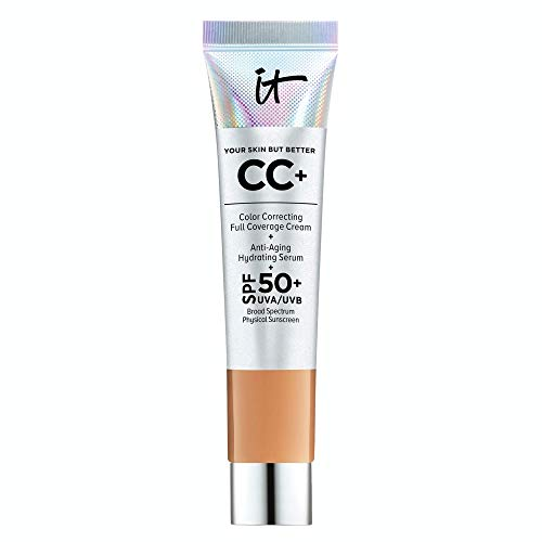 IT Cosmetics Your Skin But Better CC+ Cream Travel Size, Rich (W) - Color Correcting Cream, Full-Coverage Foundation, Hydrating Serum & SPF 50+ Sunscreen - Natural Finish - 0.406 fl oz