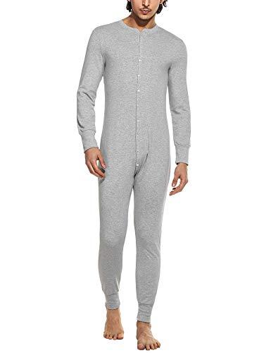 MAXMODA Uomo Abbigliamento Termico Tuta Underwear Pigiama Sleepwear Autunno Inverno Termico Leggero e Traspirante Grigio