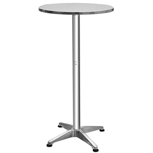 Giantex Bistro Bar Table Aluminium Round Folding Table with Adjustable Height 27.5''-44.5''