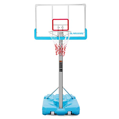 MaxKare Pool Basketball Hoop Poolside Goal Portable Basketball System Set Stand Adjustable Height 47''-79'' Outdoor Swimming Pool Indoor for Kid Adult W Aluminum Alloy Anti-Rust Large 44'' Backboard