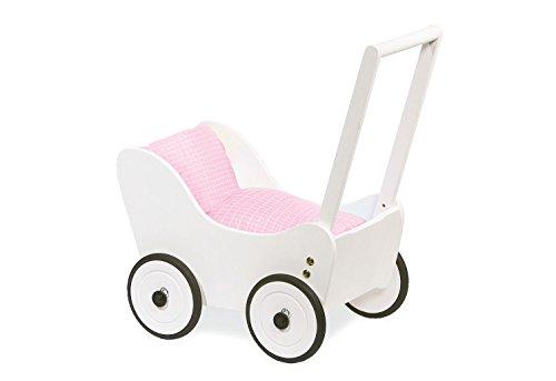 Pinolino Puppenwagen Maria, aus Holz, mit Bremssystem, Lauflernhilfe mit gummierten Holzrädern, für Kinder von 1 – 6 Jahren, weiß