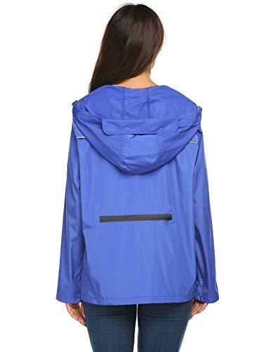 Avoogue Rain Jacket Women Waterproof with Hood Packable,Raincoat Women Waterproof Light Weight Packable Blue