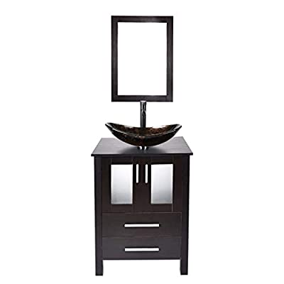 Bathroom Vanity and Sink Combo - 24 Inch Traditional Vanity Cabinet with Mirror and Tempered Glass Vessel Counter Top Sink Basin Eco MDF Board Faucet Pop-up Drain Set (Vanity+Oval Yellow Sink)