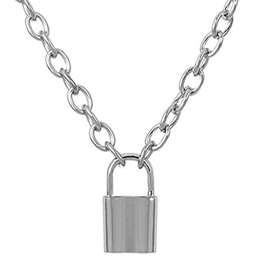 Nanafast Chain Lock Necklace Stainless Steel Statement Long Padlock Pendant Necklace for Women Girls Silver 18 Inches
