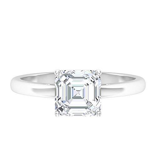 Único anillo de 1,58 quilates corte Asscher D-VSSI moissanite solitario, anillo de compromiso de oro macizo para mujer, 10K Oro blanco, Size:EU 51