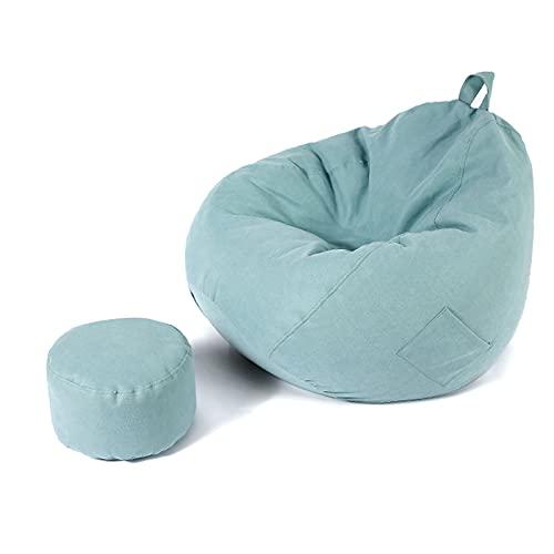 FCFLXJ Sofá reclinable Perezoso, Silla de puf, sillón reclinable Grande para Juegos para Adultos al Aire Libre e Interior de 90 * 100 CM, Taburete con pie,Verde
