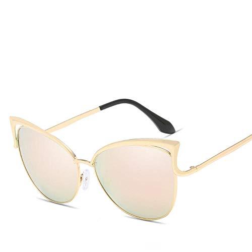 DLSM Gafas de Sol Gradiente de Metal Mujeres Gafas de Sol Moda Vintage Cateye Glasses Retro Adecuado para Playa y Senderismo Gafas de Sol-Rosa Dorado