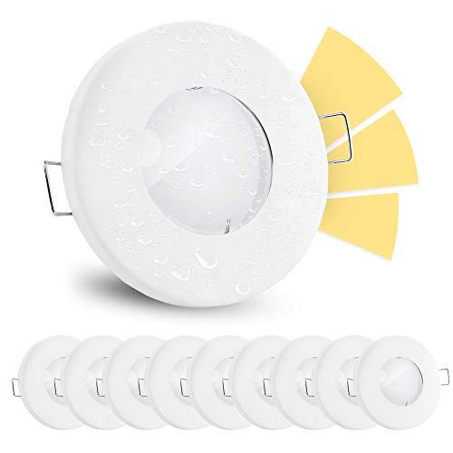 10 Stück linovum® fourSTEP Deckeneinbaustrahler LED Bad flach dimmen ohne Dimmer - LED GU10 5W warmweiß 230V - Spot weiß IP65