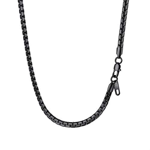 PROSTEEL Herren Biker Punk Rock Halskette 4mm breit massiv Erbskette 55cm/22 Schwarz Metall plattiert Platte Venezianierkette Gliederkette für Männer Jungen, schwarz