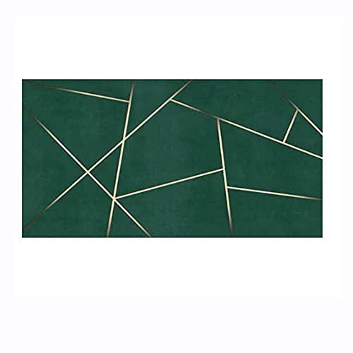 Tira de alfombra de área moderna Alfombra de cabecera Alfombra de pie de cama para el hogar Alfombras de lujo verde esmeralda profundo Alfombras geométricas de área de mosaico (Size:100x180cm,Color:5)