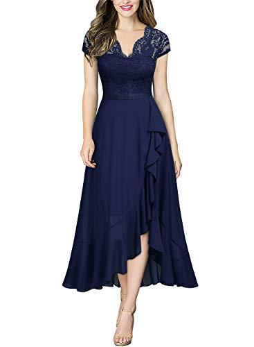 MIUSOL Damen Spitzenkleid Hüfte öffnen Abendkleid Cap Ärmel Cocktailkleid Maxi Partykleid Navy Blau M