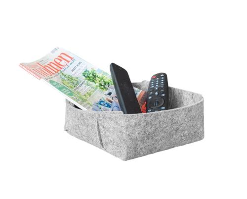 Filz-Korb Aufbewahrung leicht gemacht! Ob als Schreibtisch Organizer, Wohnzimmer Deko oder Geschenkkorb leer zum Befüllen - dieses Körbchen macht immer eine top Figur! (22 cm x 8 cm, Grau)
