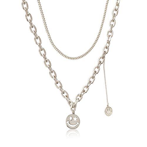 Halskette Layered Smiley Halskette Anhänger handgefertigte zierliche Kaffee Gold Choker Barschichtung Lange Halskette für Männer und Frauen-Kaffeegold Halskette Geschenk