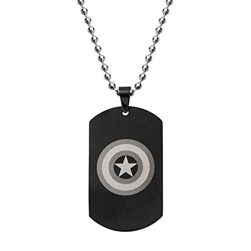 Marvel Comics Unisex Captain America Stainless Steel Chain Dog Tag Pendant Necklace, 24'