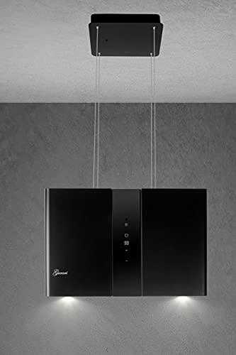 GURARI Inselhaube GCH I 331 45 BL PRIME, Schwarze Umluft Insel Dunstabzugshaube 45 cm, Deckenhaube, 1000m³/h, Schwarz, Schwarzglas, 4 Stufen,Display, LED Beleuchtung