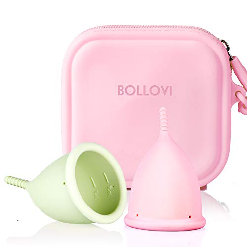 Menstrual Cups Set, Support Low Cervix and Light or Heavy Flow, Pad and Tampon Alternative, Soft, Flexible and Reusable, Beginner Safe, Free Bonus Travel Storage Bag (Large, Pink&Green)