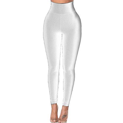 Sllowwa Sporthose Leggings Damen Yogahose Reine Farbe Gürtel schnell trocknend Fitness Sport Running Yoga Pants(Weiß,L)