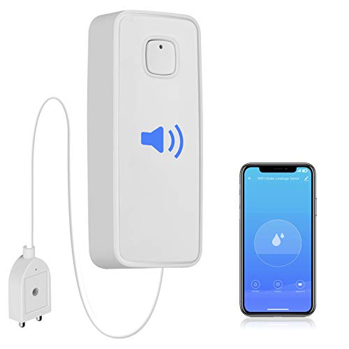 WiFi Water Leak Detector, Water Sensor Alarm, NO Hub Required, Smart Life App, 3FT Detection Line, Easy to Install Remote Monitor Leak Ideal for Home Kitchen Bathroom Basement by tolviviov